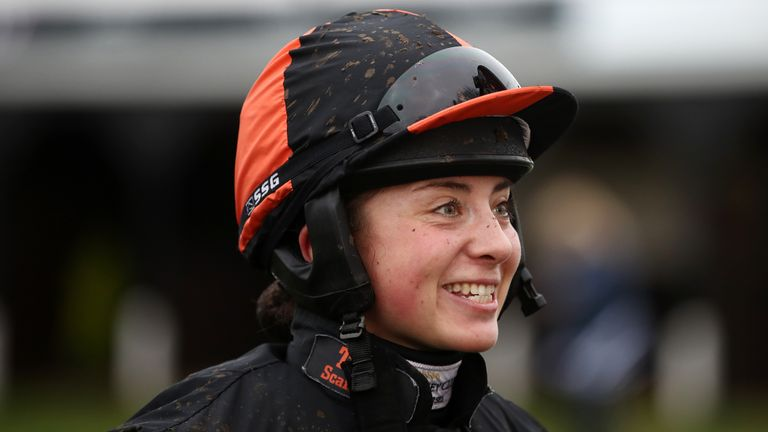 Bryony Frost at Huntingdon Racecourse