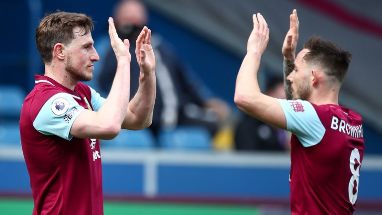 Burnley's Chris Wood celebrates with team-mate Josh Brownhill after scoring against Arsenal