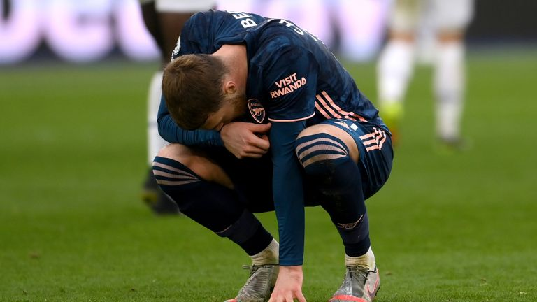 Chambers drops to his knees at the final whistle after an extraordinary game