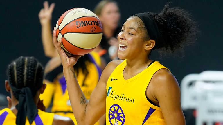 Candace Parker in action for the Los Angeles Sparks (AP Photo/Chris O'Meara)