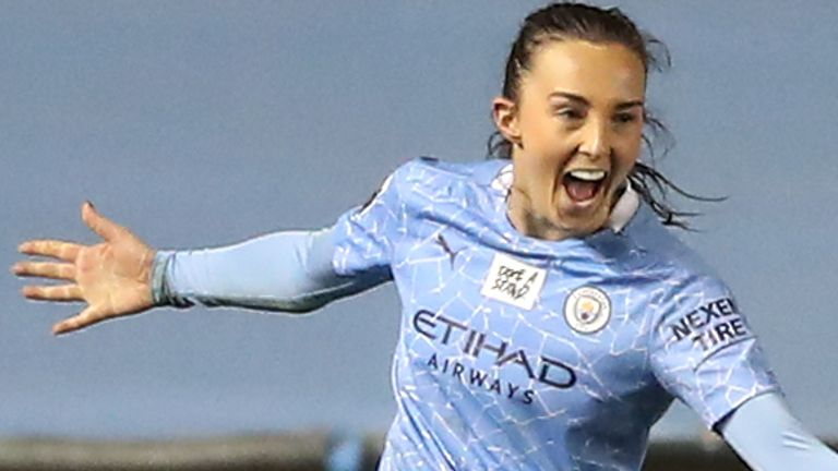 Manchester City forward Caroline Weir celebrates (PA)