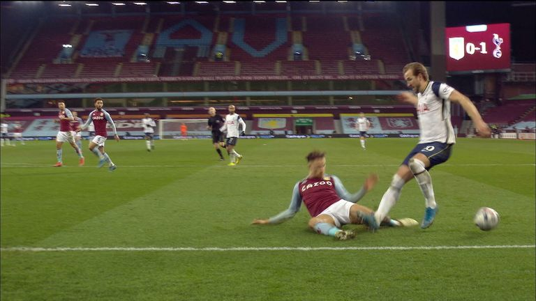 Matty Cash brings down Harry Kane for Spurs penalty