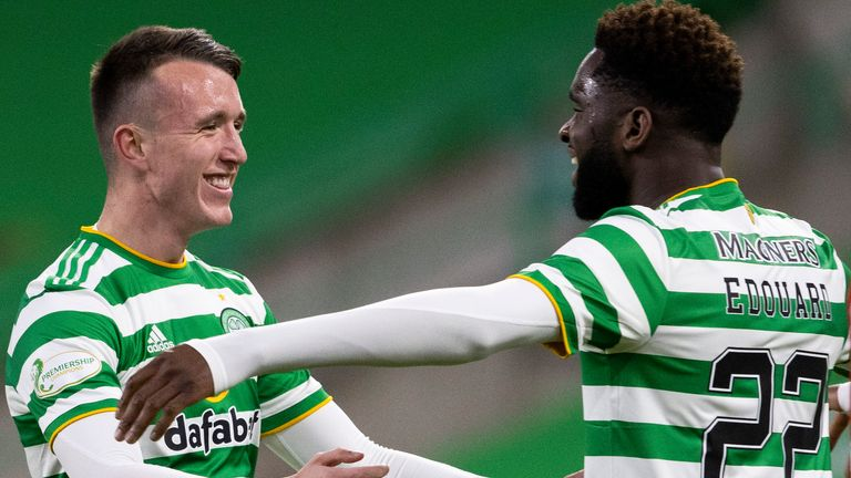 GLASGOW, SCOTLAND - FEBRUARY 17: David Turnbull celebrates with Odsonne Edouard after scoring to make it 1-0 Celtic during a Scottish Premiership match between Celtic and Aberdeen at Celtic Park on February 17, 2021, in Glasgow, Scotland (Photo by Alan Harvey / SNS Group)