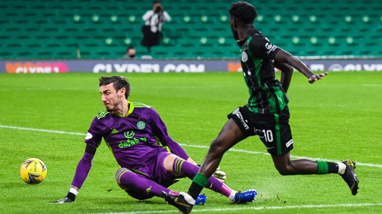 GLASGOW, SCOTLAND - AUGUST 26: Ferencvaros' Tokmac Chol Nguen (R) makes it 2-1 during the Champions League Second Round qualifying match between Celtic and Ferencvaros at Celtic Park on August 26, 2020, in Glasgow, Scotland. (Photo by Ross MacDonald / SNS Group)