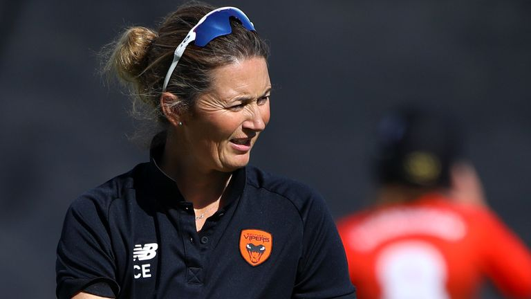 Getty - Charlotte Edwards.  Southern Vipers head coach Charlotte Edwards keeps an eye on the warm up during the Rachael Heyhoe-Flint Trophy match between Southern Vipers and South East Stars on September 05, 2020 in Hove, England.