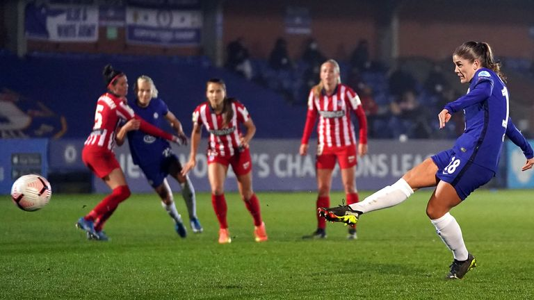 Maren Mjelde tucks in her penalty during Chelsea's win over Atletico Madrid