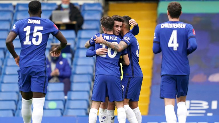 Ben Chilwell is congratulated after forcing Oliver Norwood's own goal