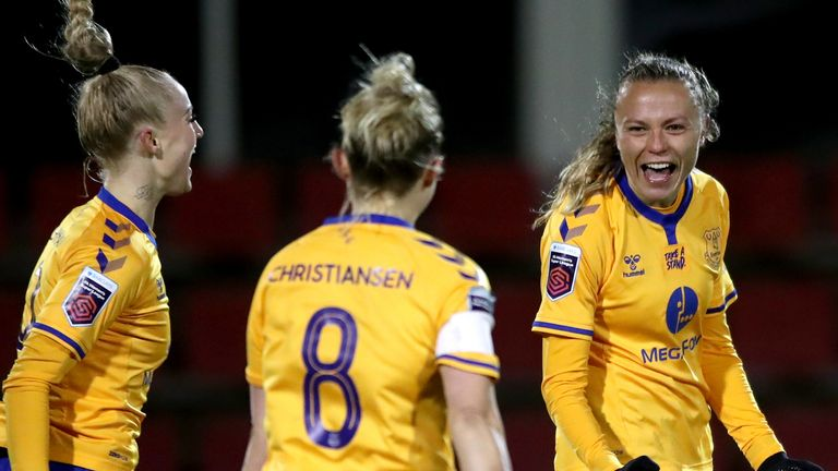 Everton's Claire Emslie (right) celebrates scoring their side's third goal