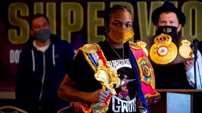 Claressa Shields (10-0-0, 2 KOs), pictured, will be fighting Marie Eve Dicaire (17-0-0, 0 KOs) for the women..s undisputed super welterweight world championship on March 5 at Dort Financial Center in Flint, pictured here facing off at a press conference on Wednesday, March 3, 2021. (Jake May | MLive.com) Jake May | MLive.com