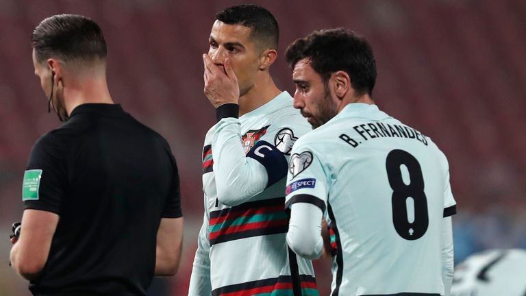 Portugal captain Cristiano Ronaldo was left in disbelief his late goal against Serbia was chalked off