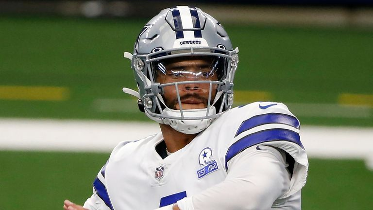 Dallas Cowboys quarterback Dak Prescott (AP Photo/Michael Ainsworth)