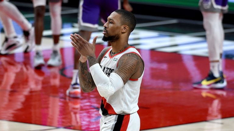 Portland Trail Blazers guard Damian Lillard reacts after hitting a shot late in fourth quarter against the Sacramento Kings