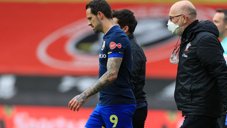 Southampton's Danny Ings goes off injured during the Premier League match at Bramall Lane, Sheffield. Picture date: Saturday March 6, 2021.