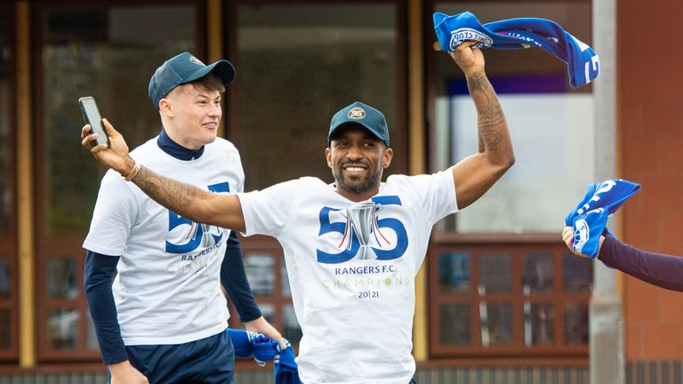 Jermain Defoe celebrates winning the league at Auchenhowie as Rangers are crowned champions of Scotland