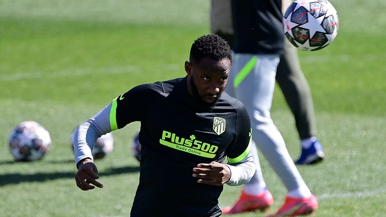 Moussa Dembele in training with Atletico Madrid earlier this month
