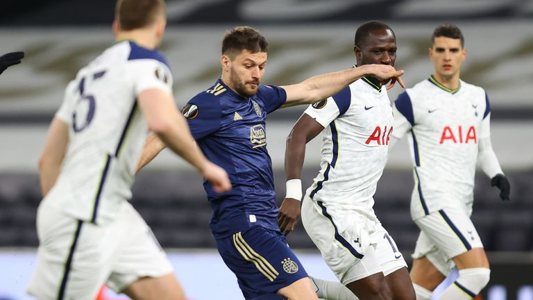Bruno Petkovic takes an early shot against Tottenham