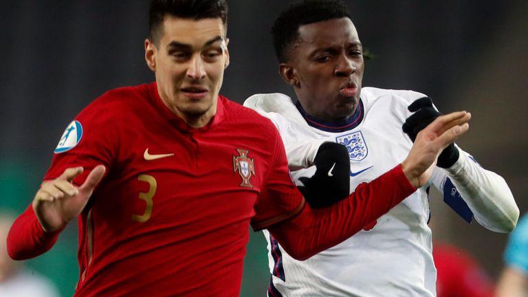 England U21 captain Eddie Nketiah during defeat to Portugal (AP)