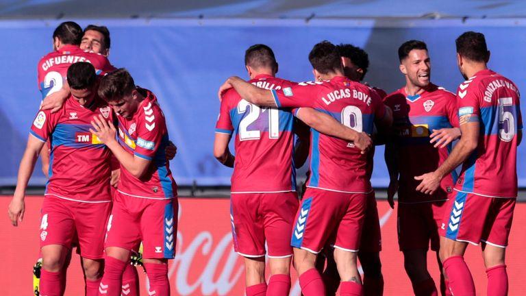 Elche celebrate Dani Calvo's opener against Real Madrid