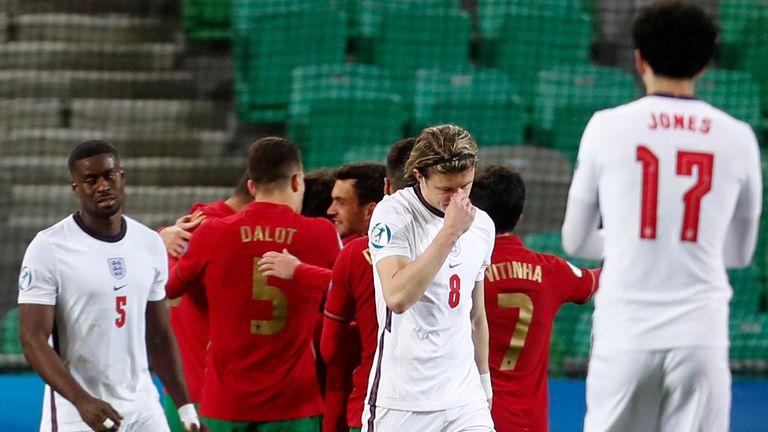 Englands Spieler reagieren nach dem Ergebnis der portugiesischen U-21
