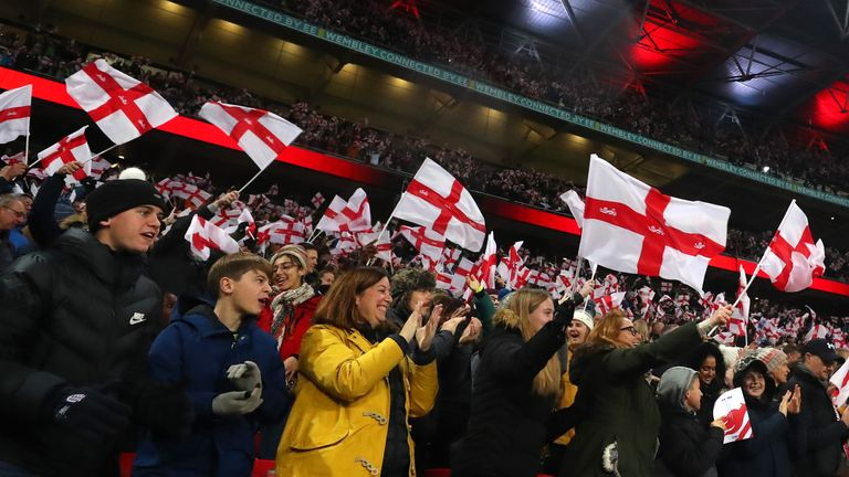 GETTY - England fans at Wembley