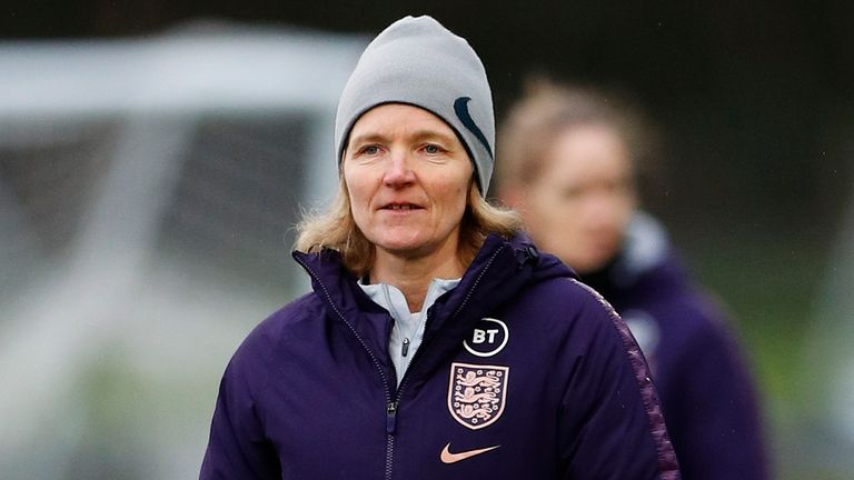 England Women interim head coach Hege Riise looks on during a training session