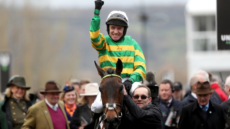 Jockey Barry Geraghty celebrates on top of Epatante after winning the Unibet Champion Hurdle Challenge Trophy at Cheltenham last year.