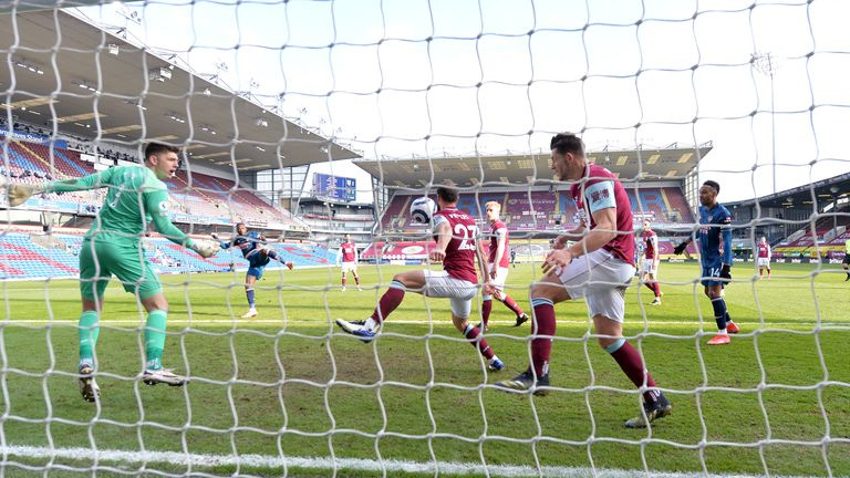 Erik Pieters blocked Nicolas Pepe's shot towards Burnley's goal in the closing stages of the 1-1 draw