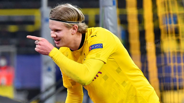 Erling Haaland celebrates scoring for Borussia Dortmund vs Sevilla