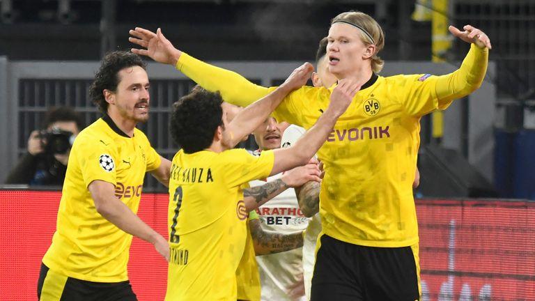 Erling Haaland celebrates scoring for Borussia Dortmund against Sevilla