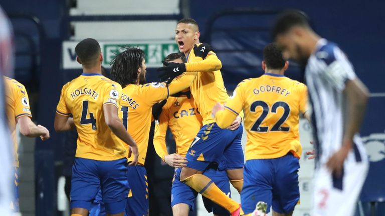 Richarlison celebrates his headed opener after 65 minutes
