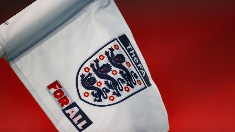 A detailed view of the corner flag with the FA logo on during the international friendly match between England and the Republic of Ireland at Wembley Stadium
