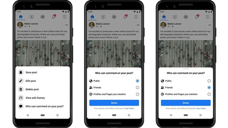 Facebook aims to give the user more control of who can comment on content
