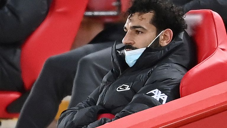 Mohamed Salah after being substituted against Chelsea