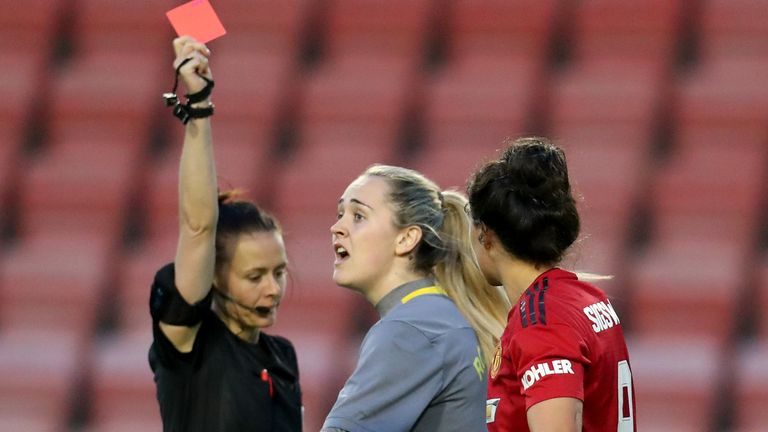 Aston Villa's Sian Rodgers (centre) is shown a red card by referee Rebecca Welch during the FA Women's Championship (17/04/19)