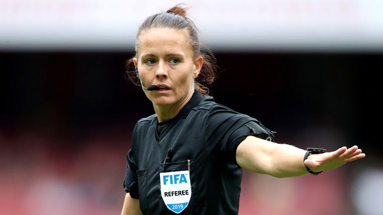 Match referee Rebecca Welch during the Emirates Cup match at the Emirates Stadium, London.  Picture date: Sunday July 28, 2019.