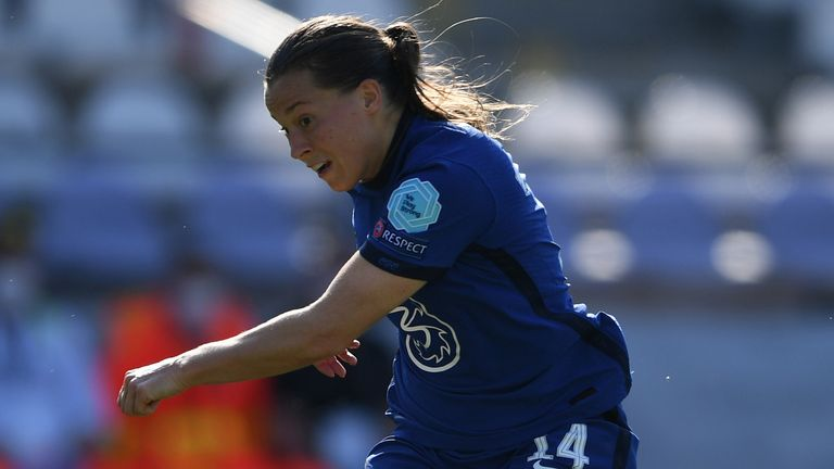 Fran Kirby fires home Chelsea's third goal against Wolfsburg