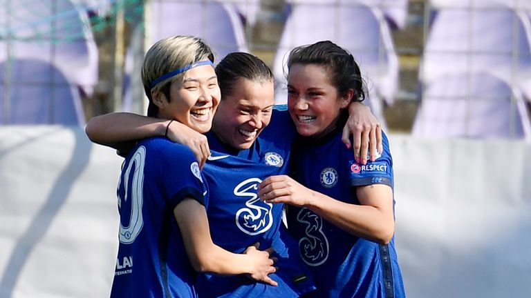 Fran Kirby celebrates after scoring Chelsea's third goal against Wolfsburg