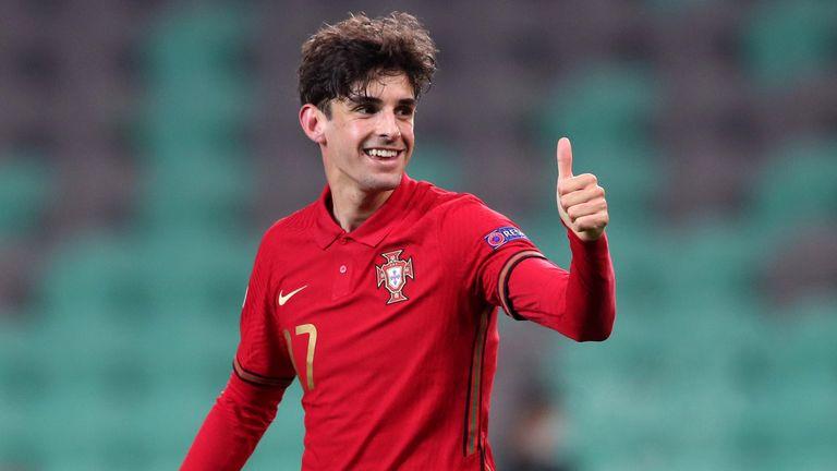 Portugal's Francisco Trincao celebrates scoring against England U21