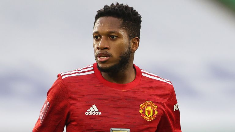 Fred of Manchester United during the Emirates FA Cup Quarter Final match against Leicester City