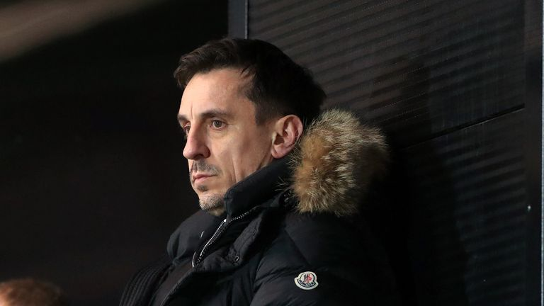 Gary Neville in the stands during the Sky Bet League Two match at the Peninsula Stadium, Salford. Picture date: Friday January 22, 2021.