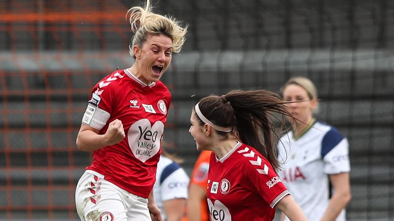 PA - Gemma Evans celebrates scoring Bristol City's equaliser