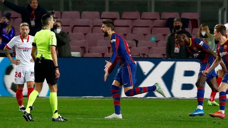 Gerard Pique had earlier brought his side level on aggregate