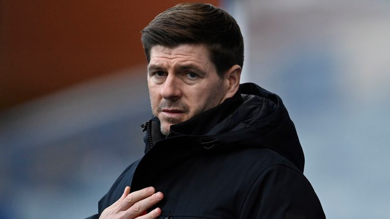 GLASGOW, SCOTLAND - JANUARY 23: Rangers Manager Steven Gerrard during a Scottish Premiership match between Rangers and Ross County at Ibrox, on January 23, 2021, in Glasgow, Scotland. (Photo by Rob Casey / SNS Group)