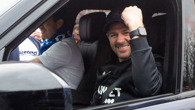 GLASGOW, SCOTLAND - MARCH 07: Rangers manager Steven Gerrard is pictured as fans gather outside Murray Park as they are crowned champions on March 07, 2021, in Glasgow, Scotland. (Photo by Ross MacDonald / SNS Group)