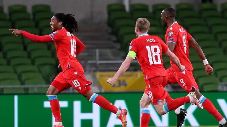 Luxembourg's Gerson Rodrigues (left) celebrates scoring against Republic of Ireland
