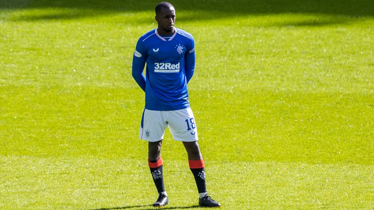 Glen Kamara is pictured as Both sets of players stand together in solidarity against Racism  during the Scottish Premiership match between Celtic and Rangers at Celtic Park,