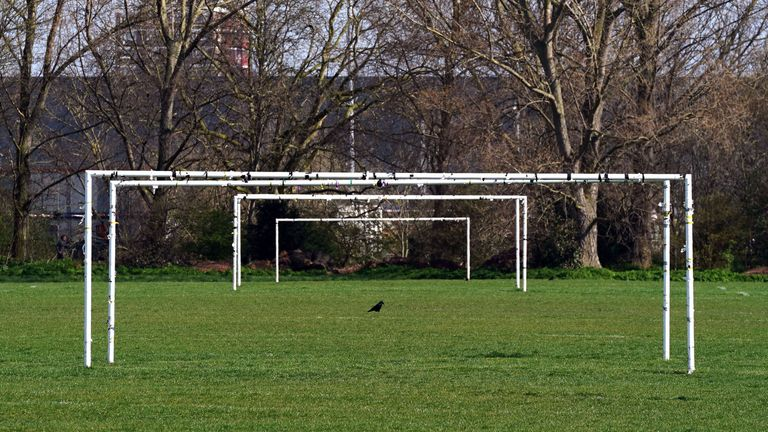 A general view of goalposts at Hackney Marshes in London, as all grassroots football in England remains postponed for the foreseeable future