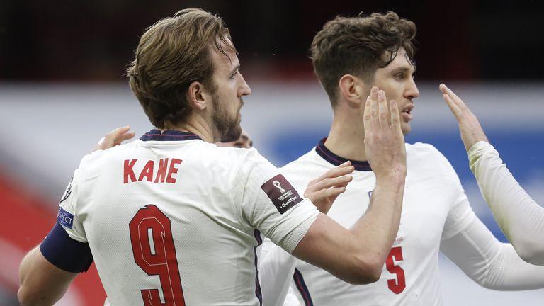 Harry Kane celebrates scoring for England vs Albania