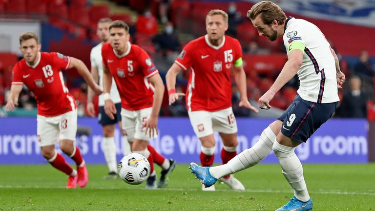 Harry Kane gives England the lead against Poland from the penalty spot