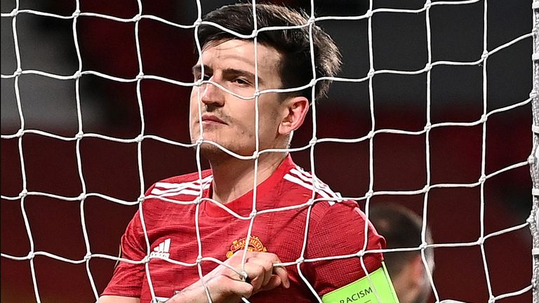 Harry Maguire rues a bad first-half miss against AC Milan